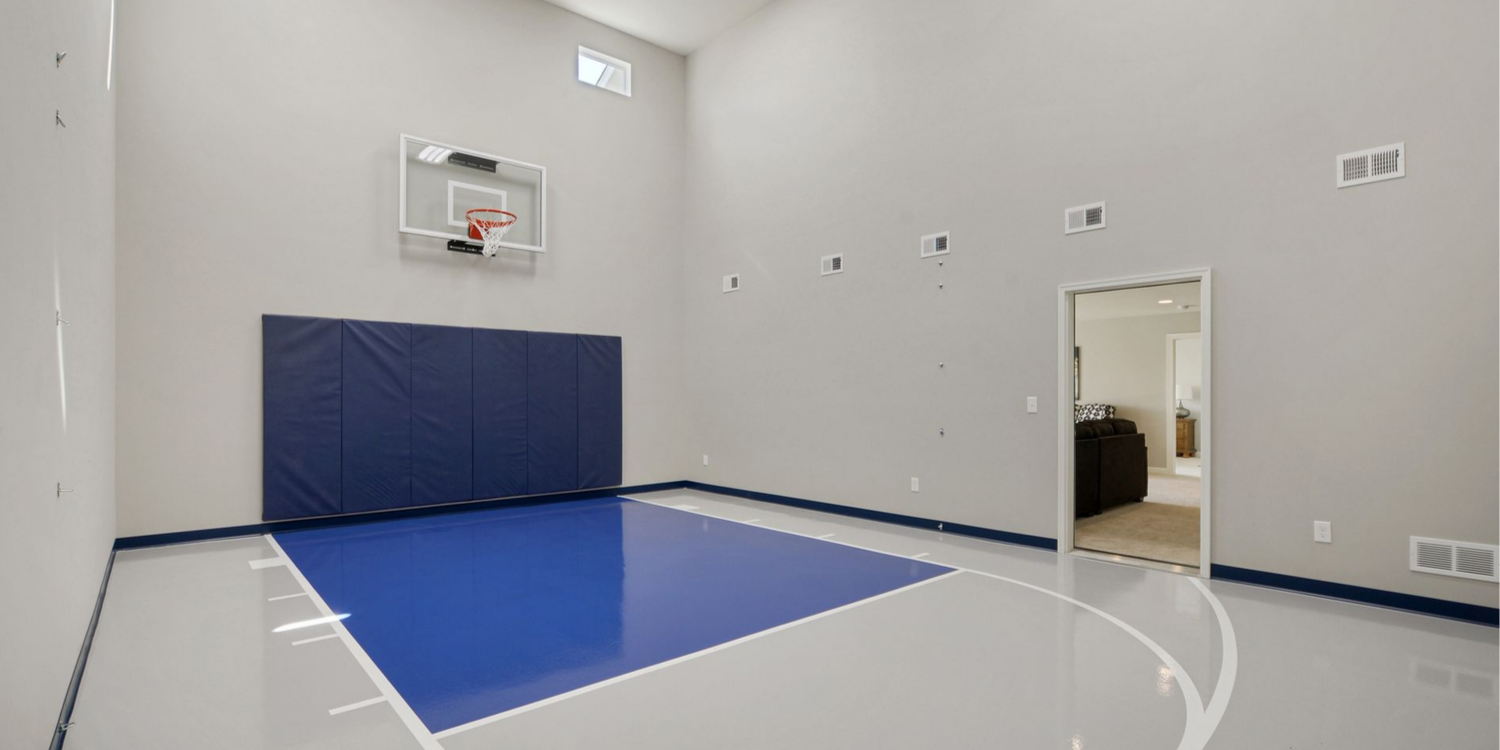 Indoor Basketball Court in Custom Home in Blaine MN